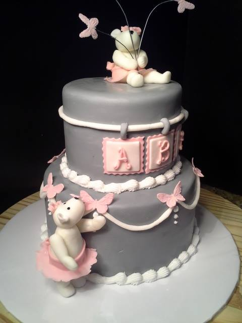 sweet pink and gray bear cake