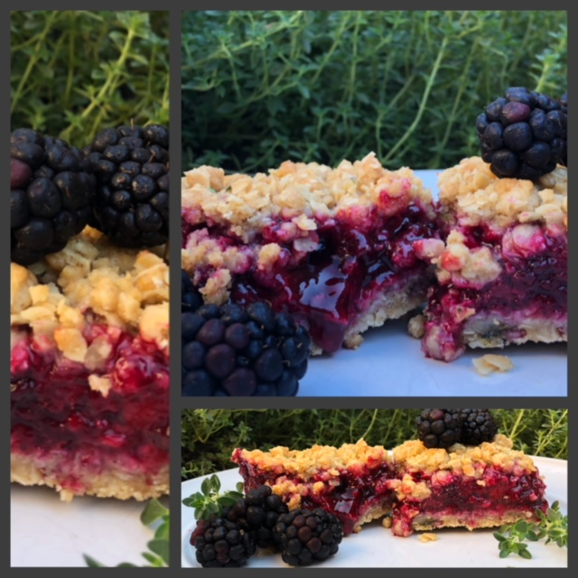 lemon thyme blackerberry crumb bars